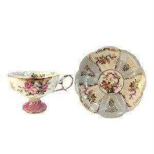 Vintage Royal Halsey Luster Roses Teacup & Saucer